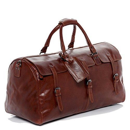 FEYNSINN Reisetasche PHOENIX - Unisex Weekender XL groß Ledertasche - Sporttasche im Vintage-Look Damen Herren echt Leder hellbraun-cognac