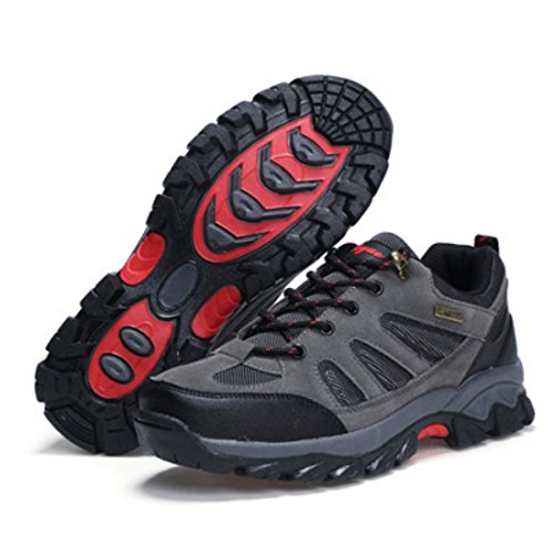 Men's Zapatillas Breathable Non Slip Hiking Training Shoes grey red
