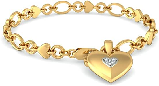 IJ| SI 0.045 cttw Round-Cut-Diamond 18K Yellow Gold identification-bracelets Size 8 inches