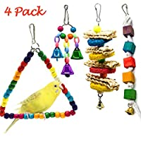 Creatiees 4Pcs Pet Bird Parrot Swing Toys with Bells, Eco-friendly Birds Cage Toy for Parakeet Finch Canary Small Medium Birds - Hanging Chewing Toys & Pet Training Accessories