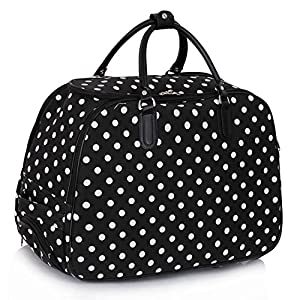 Ladies Travel Holdall Bags Hand Luggage Womens Polka Dot Weekend Wheeled Trolley Handbag from TrendStar