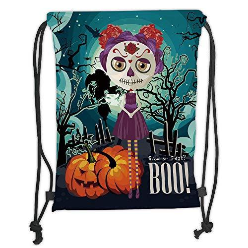 Fashion Printed Drawstring Backpacks Bags,Halloween,Cartoon Girl with Sugar Skull Makeup Retro Seasonal Artwork Swirled Trees Boo Decorative,Multicolor Soft Satin,5 Liter Capacity,Adjustable Strin