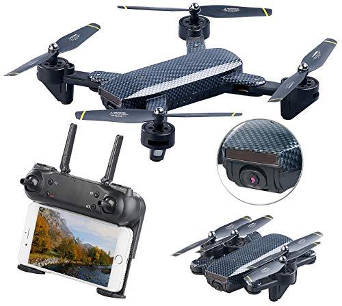Simulus Dronen: Faltbarer WiFi-FPV-Quadrocopter, HD-Cam und VGA-Cam, Optical Flow, App (Drohne faltbar)