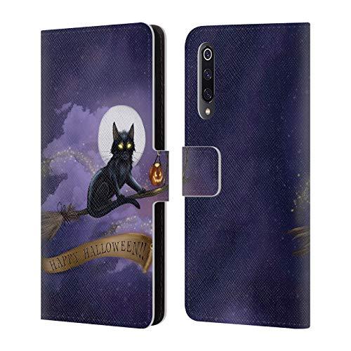 Head Case Designs Offizielle Ash Evans Happy Halloween Schwarze Katzen Leder Brieftaschen Huelle kompatibel mit Xiaomi Mi 9