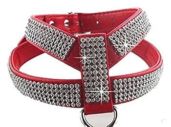 Chiguo Chiens Harnais Réglable Collier En Cuir PU Strass Pour Petits ou Moyens Grand Chien ou Chats Animaux (Rouge m)