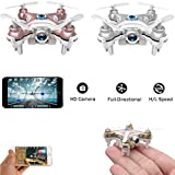 WiFi Controlled Mini Quadcopter, Volarvin® - Super Micro Nano Quadcopter RC Drone with Camera 2.4G 4 Channel 3D Gyro 6 Axis with 360 Stunt Spin Flips (Only 6cm x 6cm x 2cm) by Fone Stuff
