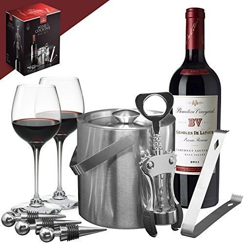 Sorbus Bar Tool Wein-Set, Cocktails, Getränke – Deluxe 6-teilig beinhaltet: Eiseimer, Eiszange, Flaschenöffner, Flaschenverschluss, für jeden Anlass, tolles Urlaubsgeschenk