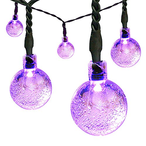 Satu Brown Solar String Fairy Lights 60 LED Crystal Ball, Satu Brown 36ft 11M Patio Globe Lights Outdoor Lighting for Festive Christmas Party , Garden, Camping, Yard Deck(Purple)
