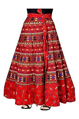 Mayuri Cotton Women's Pure Cotton Wrap Around Skirt,KGST_126_Red_Freesize