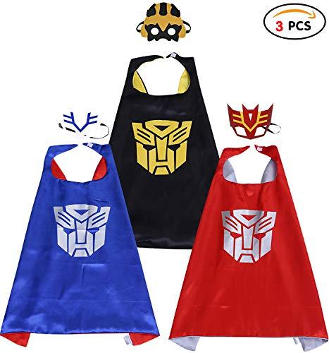 Kostüm Party Transformers - Qemsele Kinder Umhänge Masken Kostüm für Mädchen Jungen, 3 Pack Superheld Verrücktes Kleid für Kinder verkleiden Sich Spiele Halloween Weihnachten Geburtstag Party (70 x 70 cm, Transformers)