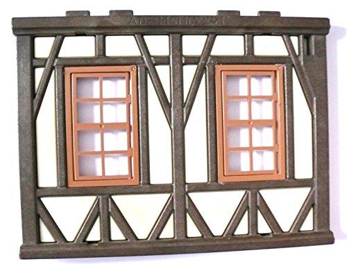 playmobil ® - Burg Ritterburg Fachwerkhaus - Wand mit 2 Fenstern