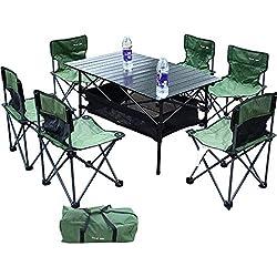 Table pliable Leqi Outdoor Table Pliante Et Ensemble De Chaises 4 Personnes Multi-person Table Pliante Et Chaises Barbecue Camping Auto-conduite Table Et Chaises Set Table Et Chaises Ensemble De 7 Tab