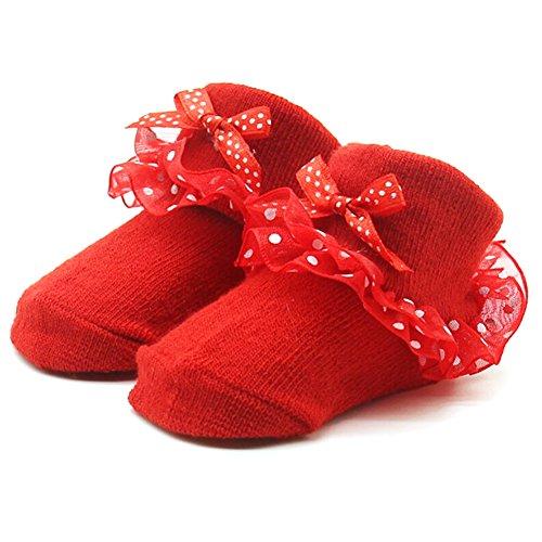 Lovely Neugeborene Baby Socken Bequeme Baumwollsocken Booties Socken mit Spitze und Bowknot für 0-12 Monate Baby Girls Geburtstag Socken Foto Stützen Outfits (Rot) - Täglichen Baby Bootie