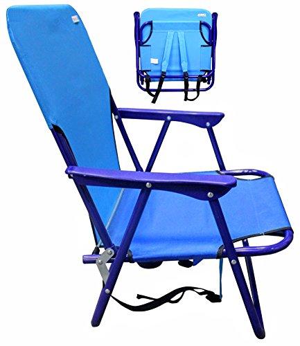 VALLF Rucksack, Stabiler Strandkorb, Stahlrahmen und extra Komfort, faltbar, eine Position, hellblau (Rio Rucksack Stuhl)