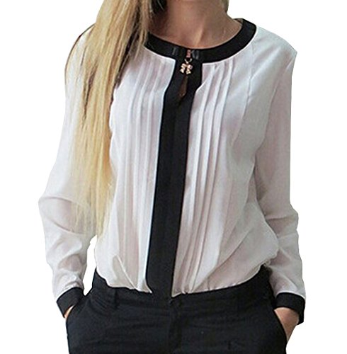 Damen Langarm Chiffon T-Shirts Tunika Oberteil Tops hemden Blusen mit Schleife Am Kragen (EU42-44(XL), Weiß)