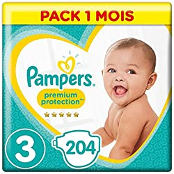 Pampers - Premium Protection - Couches Taille 3 (5-10 kg) - Pack 1 mois (x204 couches)