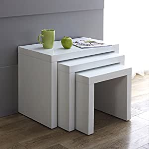 White High Gloss Nest Of Tables Amazon Co Uk Kitchen Amp Home