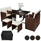 TecTake Conjunto muebles de jardín en ratán sintético comedor juego 4+4+1 + funda completa | tornillos de acero inoxidable | mixed marrón