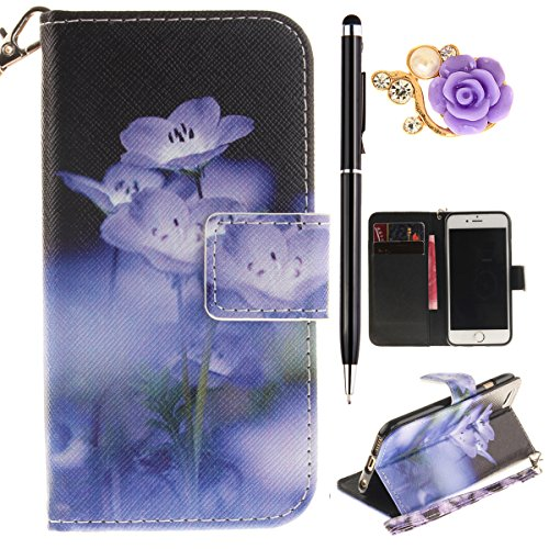 iPhone 6 Hülle,iPhone 6S Case - Felfy Flip Bookstyle Wallet Luxe Handyhülle Retro Painted Niedlich Farbe Muster Premium Slim PU Leather Stand Wallet Flip Lederhülle Case Cover Pouch Shell Soft mit TPU Strap Blaue Blumen