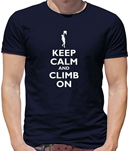 Keep Calm and Climb on - Herren T-Shirt - Navy - M