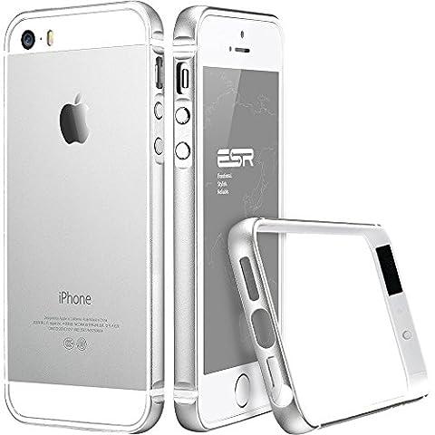 Coque iPhone SE, ESR Antichoc Métal Coque dur Bumper Frame iPhone 5s Cadre Coque de Protection pour iPhone SE / 5S / 5 [ Aucun Plaque Arrière ] Fluencia Series (Argent)