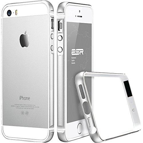 iPhone 5 / 5S Hülle, ESR® Fluencia Series Metallrahmen mit Weiche TPU Bumper Innerhalb für iPhone 5S/5 (Grau) Fluencia_Silber