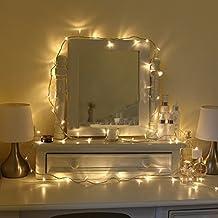 YOEEKU 100 LEDs Luces de Navidad Interior participaciones actuales románticos transparente enchufe de la UE para la I cuartos de la cama extendieron dormitorio del banquete de boda de Navidad Cables de extensión traseros multi-enchufe puede (Blanco Cálido)