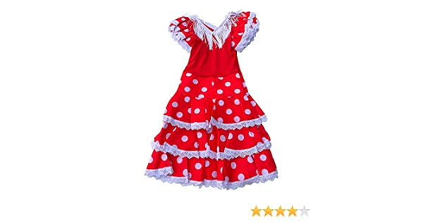 Red//White Ni/ño Deluxe Girls//Kids La Senorita Spanish Flamenco Dress