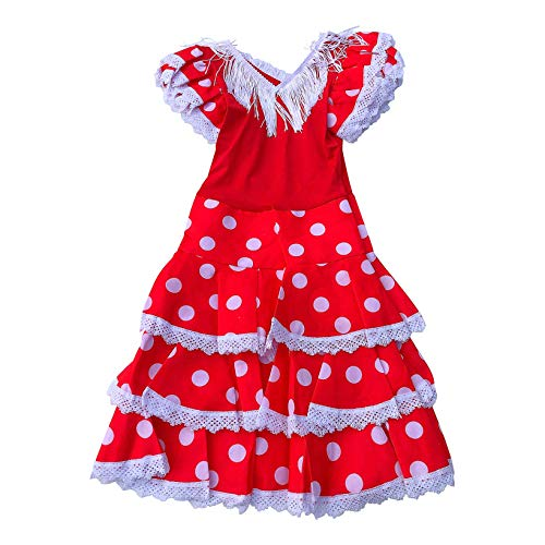 La Senorita Vestido ropa Flamenco Niño Lujo Español Traje de Flamenca chica/niños rojo blanco (Talla 4, 92-98 - 65 cm, 3/4 años)