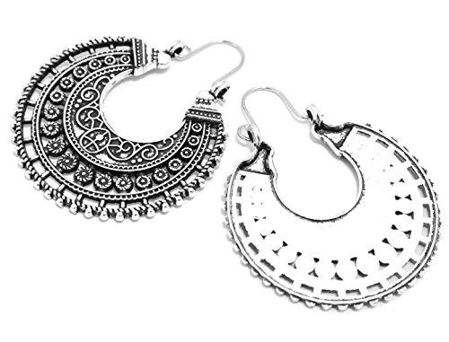 2LIVEfor Traumhafte Ohrringe Ethno Gross verziert Ohrringe Bohemian Vintage Ohrringe lang Hängend Antik Style Silber Ornament Rund (Zeichen, Formen & Symbole) - 3