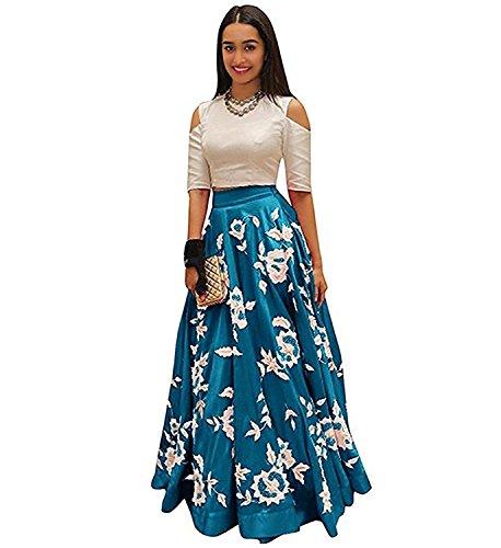Vaankosh Fashion Women's Embroidered Partywear Latest Collection Skirt/Lehenga (sea green)
