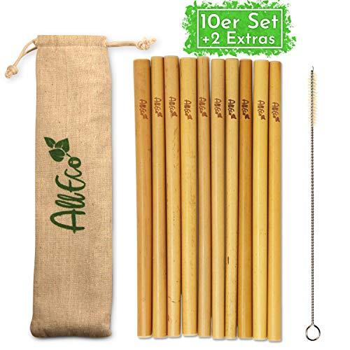 AllEco Bambus Strohhalm wiederverwendbar 10er Set + Reinigungsbürste + EXTRA Eco-Beutel - umweltfreundlich, ökologisch, nachhaltig & plastikfrei