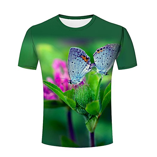 Mens Casual Design 3D Printed Leaves-Butterflies-Flowers Graphic Short Sleeve Couple T-Shirts Top Tee XXL