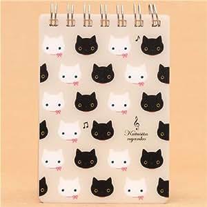 Petit cahier à spirale beige avec des chats Kutusita Nyanko