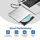 External DVD Drive, Patuoxun USB 3.0 CD DVD Burner Drive Writer Player with Hairline Finish for Windows, Laptop, Apple, Mac, Macbook Air / Pro, Desktop, PC - Silvery