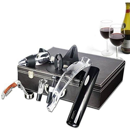 Accessori vino di lusso, cavatappi elettrico alimentato a batteria + apribottiglie vino in palissandro + taglierina a pellicola + tappo sottovuoto + aeratore vino decanter + anello salvagoccia vino a goccia + supporto, vino regalo affari regalo