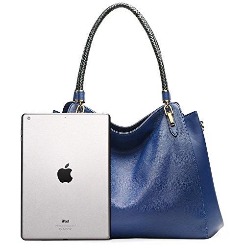 CLUCI Vera Pelle Borsa Donna Sacchetta Tote a Mano Spalla Top-Handle Leather Bag Designer 2-Blu
