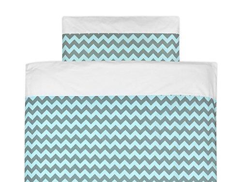 KraftKids Bettwäsche-Set Uniweiss Chevron hellgrau und mint aus Kopfkissen 40 x 60 cm und Bettdecke 135 x 100 cm, Bettbezug aus Baumwolle, handgearbeitete Bettwäsche gefertigt in der EU - Baby-bettwäsche-sets Chevron