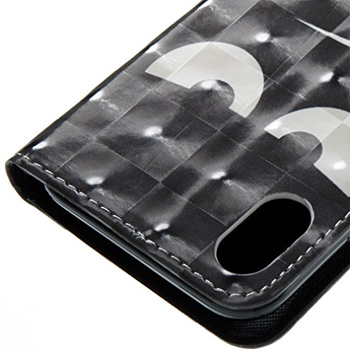 iPhone 10 iPhone X Hülle, Nnopbeclik Ultra Slim Fit, Kickstand, Card Slot, Anti-Rutsch Soft TPU Stoßfänger, Sonnenblumen Flip Leder PU Wallet Case für iPhone 10 iPhone X 5,8 Zoll Schwarze Augen