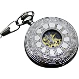 Infinite U Vintage High-end Skeleton Movement Big Silver Mechanical Pocket Watch