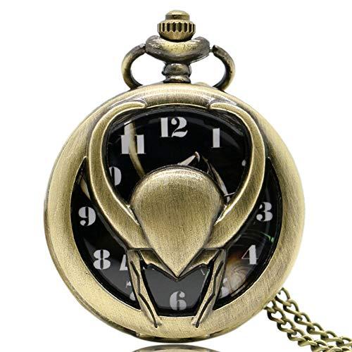 The Avengers Loki Reloj de Bolsillo Vintage, Colgante de Bolsillo para Hombres, Reloj de Bolsillo de Cuarzo Regalo