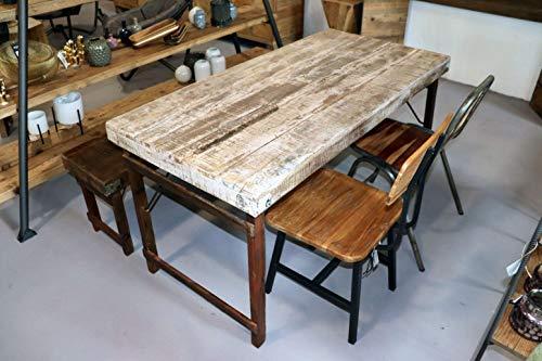 sstisch aus Altholz gewachst klappbar Shabby-Chic White | Massivholz Esstisch | Industrie Look Tisch | Küchentisch in Shabby Vintage Style | jeder Tisch EIN Unikat ()