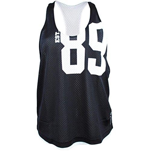Reebok Mesh Tank - Camiseta de tirantes de malla para fitness, diseño femenino, negro y blanco
