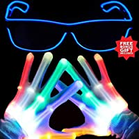 Rock Skeleton Hand Gloves LED Finger Light Gloves Light Up Flashing Gloves for Boys Toys & Kids Gifts Light Show Party Supplies Accessories Favors Great Gifts-Extra Bonus Free Led Glasses More Fun...