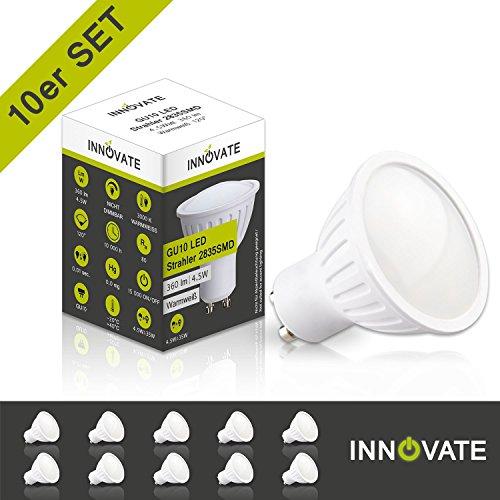 [ 10er Pack / Set ] INNOVATE LED GU10 Spot Strahler Reflektorlampe, matt / 4,5W - Ersatz für 35W...