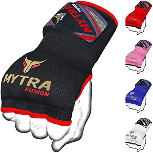 Mytra Fusion Kids Hybrid Boxing Inner Gloves Punching Boxing MMA Muay Thai Gym Workout Gel Inner Gloves (Black, Junior)