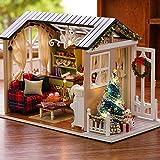 CUTEBEE mini Dollhouse di legno con mobili fai da te assemblaggio artigianale casa in miniatura giocattoli per bambini e ragazzi periodi di vacanza(Holiday Time)