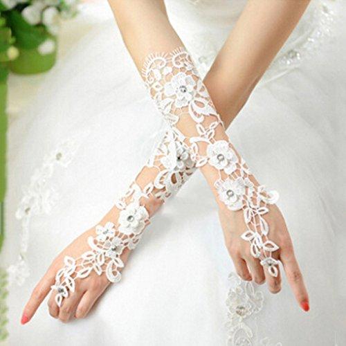 he für Hochzeit Lace Bridal Dress Lange Fingerlose Zubehör Party weiß ()