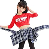 VoleseniTM - Conjunto de Disfraz de Jazz Moderno para niñas, Color Red Top+Gray Skirt-Pants, tamaño 140 cm