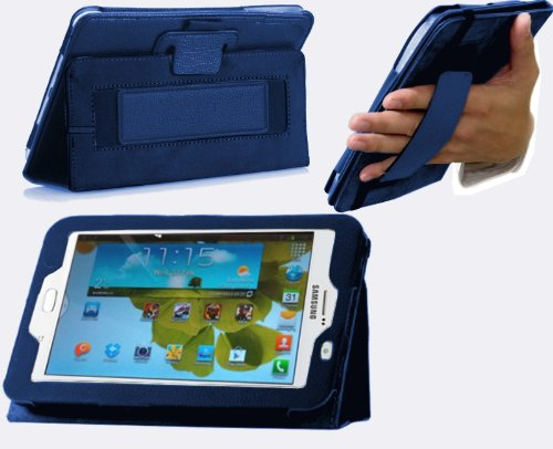 Navitech bycast Leder Case für Samsung Galaxy Note 8.0 GT-N5100 (Flip Stand Case, blau)